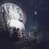 Abstract Xmas Backgrounds With Vintage Watches Royalty Free Stock Photo