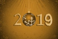 Abstract Xmas ball with year 2019 against snow and snowflakes on. Golden background for Christmas day and Happy New Year concept royalty free illustration