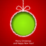 Abstract Xmas greeting card. With green Christmas ball cutted from red paper background. Vector eps10 illustration stock illustration