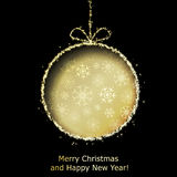 Abstract Xmas greeting card with golden Christmas ball. Cutted from black paper background. Vector eps10 illustration Royalty Free Stock Photography