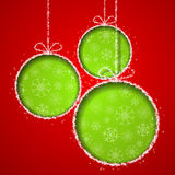 Abstract Xmas greeting card with green Christmas bals. L cutted from red paper background. Vector eps10 illustration Royalty Free Stock Photos