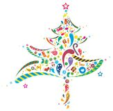 Abstract Xmas tree. Is decorated with various  materials Royalty Free Stock Images