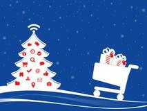 Christmassy e-commerce illustration. Royalty Free Stock Photography