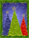 Abstract Xmas Trees Card. A clip art illustration featuring 3 abstract trees decorated with ribbons set within a blue and green border and rustic texture Royalty Free Stock Photography