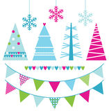 Abstract xmas trees and design elements. Colorful patterned Xmas trees set. Vector illustration Stock Photo