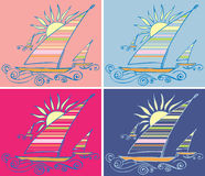 Abstract yacht. On colored backgrounds Royalty Free Stock Photo