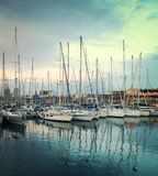Abstract yachts at port of Barcelona, Spain Stock Images