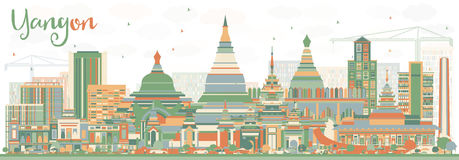 Abstract Yangon Skyline with Color Buildings. Royalty Free Stock Photos