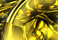 Abstract yellow. Study of form and color, 3D rendered image produced with Bryce Stock Photos
