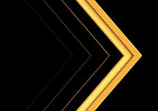 Abstract yellow arrow direction on black design modern futuristic background vector stock illustration