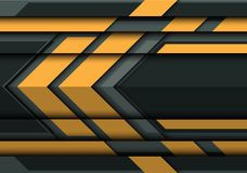 Abstract yellow arrow on gray metal 3D design modern futuristic background vector. Illustration Stock Image
