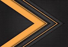 Abstract yellow arrow speed direction on dark gray hexagon mesh design modern futuristic background texture vector. Illustration Royalty Free Illustration