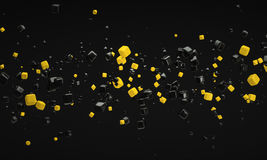 Abstract yellow atom nano technology particle background 3d rend. Ering royalty free illustration