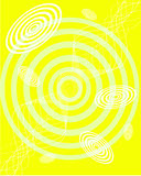 Abstract yellow background. Vector illustration of circles and waves on a yellow background Stock Image