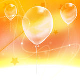 Abstract yellow  background  with ballon. Three ballons on the abstract yellow  background Stock Photo
