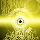 Yellow background with eye and circuit. Abstract yellow background with eye and circuit. EPS10 vector background royalty free illustration