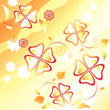 Abstract yellow background. Flying flowers Royalty Free Stock Photos