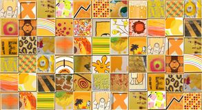 Abstract Yellow Background made with Small illustrations. Collage Royalty Free Stock Photography