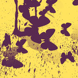 Abstract Yellow Background With Purple Butterflies Stock Photography