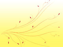 Abstract yellow background waves with ornaments and leafs. Soft vector illustration