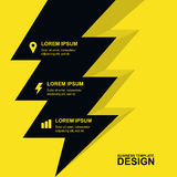 Abstract yellow background with yellow lightning and icons. Conc Royalty Free Stock Image