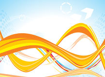 Abstract yellow based line wave background Stock Images