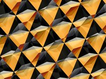 Abstract yellow black geometric pattern 3d. Abstract yellow black geometric pattern, double exposure polygonal background, 3d render illustration royalty free stock photos