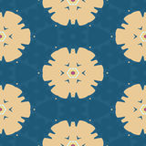 Abstract yellow blossom on the blue background seamless circle flower symbol teexture pattern Royalty Free Stock Image