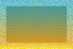 Abstract yellow blue radial background in mosaic frame of square. Bright summer vector illustration Royalty Free Stock Image
