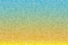Abstract yellow blue radial background in square mosaic grid. Bright summer vector illustration Royalty Free Stock Images