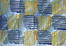 Abstract yellow blue texture. Yellow Blue Striped Art. Abstract watercolor painting stock illustration