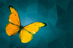 Abstract yellow butterfly on geometric background. Yellow butterfly with polygonal crystal texture on geometric background with triangular polygons, low poly royalty free illustration