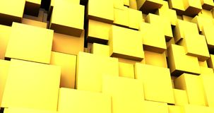 Abstract yellow chaotic cubes background. 3d render of abstract yellow chaotic cubes background Stock Photos