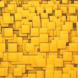 Abstract yellow chaotic cubes background. 3d render of abstract yellow chaotic cubes background Royalty Free Stock Images