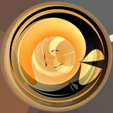 Abstract yellow circle shape background with contrasting dark twirl Royalty Free Stock Image