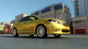Abstract yellow city car Royalty Free Stock Photo