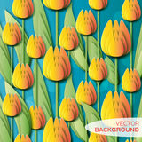 Abstract Yellow Floral background - With Bunch of Spring Tulips. Royalty Free Stock Photography
