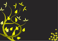 An abstract yellow floral design. An abstract floral design with japanese style yellow trees on a black backdrop with room for text Royalty Free Stock Photo