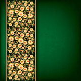 Abstract yellow floral ornament on green Royalty Free Stock Photography