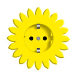 Abstract yellow flower with power socket. Illustration of abstract yellow flower sign or symbol with power socket , isolated on white background Stock Images