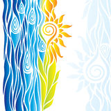 Abstract yellow flower with leaves and blue waves on a white bac Stock Photos