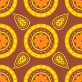 Abstract flower pattern in yellow-brown shades stock illustration