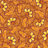 Abstract yellow flowers brown seamless background Stock Image