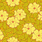 Abstract yellow flowers seamless pattern Royalty Free Stock Images