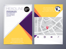 Abstract yellow geometric flyer design template vector mock up Stock Photo