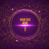 Abstract yellow glared wave lines on purple background. Banner template Stock Images