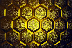 Abstract yellow glass texture. Abstract honeycombs form yellow glass texture Royalty Free Stock Photos
