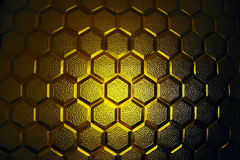 Abstract yellow glass texture. Abstract honeycombs form yellow glass texture Royalty Free Stock Photo