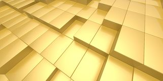 Abstract yellow gold background of 3d blocks Royalty Free Stock Image