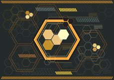Abstract yellow hexagon digital graphic on gray monitor technology computor design modern futuristic vector. Illustration Stock Photos
